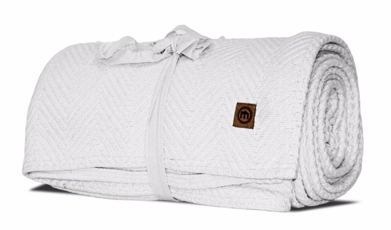 White Loom Woven Chevron Blanket